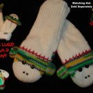 GREEN SOCK MONKEY MITTENS knit FLEECE LINED lime wintergreen spring ADULT