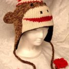 BROWN SOCK MONKEY HAT Knit FLEECE lined ADULT photo prop pro MENS WOMENS trench HALLOWEEN COSTUME