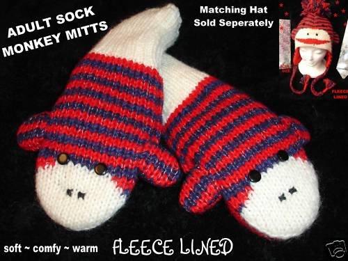 STRIPED sock MONKEY MITTENS knit ADULT puppet RED delux deluxe knitwear