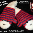 STRIPED sock MONKEY MITTENS knit ADULT puppet RED delux deluxe knitwear