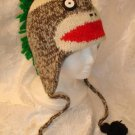 PUNK ROCK SOCK MONKEY HAT knit ADULT emo mohawk FLEECE Lined Halloween costume