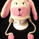 BUNNY RABBIT HAT Pink White animal costume ADULT ladies womens cable knit Long Eared Ski Cap