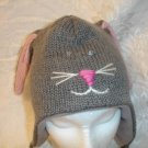 GRAY RABBIT HAT bunny FLEECE LINED grey Ladies Size ADULT cable knit Halloween costume Ski Cap