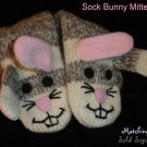 SOCK BUNNY Rabbit MITTENS puppet ADULT Fleece Lined Ladies Comfy Gray Striped sock monkey