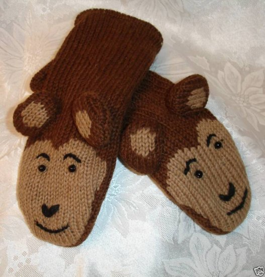 MONKEY MITTENS knit ADULT Small  puppet FLEECE LINED monkey face brown