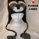 RACCOON HAT knit ski cap toque beanie costume ADULT Ladies UNISEX Dark Brown racoon