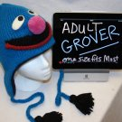 Adult GROVER Costume Hat KNIT Fleece Lined Hand Made halloween ski cap red SESAME STREET delux