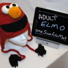 Adult ELMO Costume Hat KNIT Fleece Lined Hand Made halloween ski cap red SESAME STREET delux