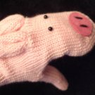 PIG MITTENS warm winter ADULT SIZE ladies puppet PINK piggy Knit FLEECE LINED costume therapy