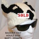 BADGER HAT Knit RIGID EARS halloween costume cap WINTER SKI CAP football game wear