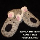 KOALA MITTENS knit ADULT Fleece Lined BEAR gray puppet bear cub mens womens delux knitwits