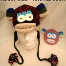 ARGYLE SOCK MONKEY HAT knit ADULT Halloween costume FLEECE LINED multi color blue green red
