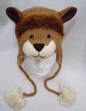 LION HAT The Lions KNIT & FUR ACCENTS Fleece Lined ADULT Unisex animal Costume mascot