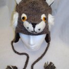 LYNX HAT WILDCAT knit FAKE FUR ACCENTS Fleece Lined ADULT Unisex mascot animal Costume