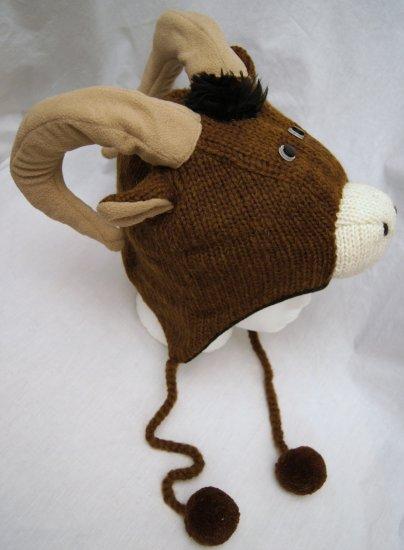 Longhorn Sheep Hat Knit Fleece Lined Aries Ram Mountain
