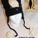 BADGER HAT ADULT skunk  KNIT Ski cap BEANIE animal Costume Helmet Head woodchuck black and white