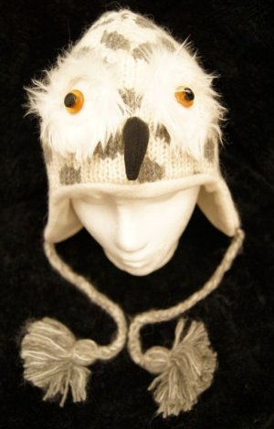 WHITE spotted Gray OWL HAT knit ADULT Fleece Lined grey Halloween costume Furry accents