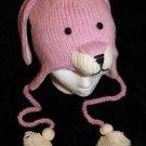 PINK BUNNY RABBIT HAT Fleece Lined ADULT knit ski cap animal costume gift