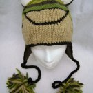 ADULT FROG KNIT HAT green striped FLEECE LINED unisex animal costume mens womens