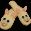 WHITE CAT MITTENS puppet FLEECE LINED knit Face ADULT animal feminine kitty gift anime girlfriend