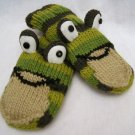 STRIPE FROG MITTENS unisex FLEECE LINED knit army green striped
