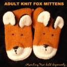 FOX MITTENS adult size KNIT mens womens FOXY hunter warm winter wear FLEECE LINED