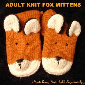 FOX MITTENS adult size KNIT mens womens FOXY hunter warm winter wear FLEECE LINED