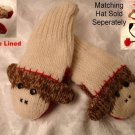 SOCK MONKEY MITTENS adult size KNIT mens womens FLEECE LINED trench coat brown cute original classic