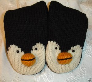 PENGUIN MITTENS knit FLEECE LINED ears ADULT cute mens womens ICE HOCKEY SKATING puppet