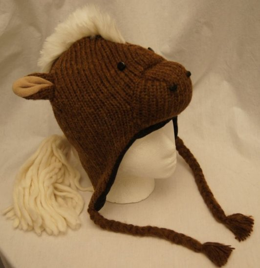 deLux HORSE HAT knit Adult COSTUME Brown ski Cap animal Colts WE SHIP TODAY Fleece Lined