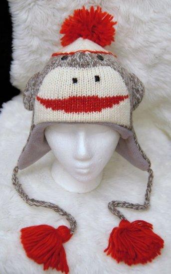 SOCK MONKEY HAT Adult Classic online web wear BUY HERE Soft Lined Fleece Knit ski Cap Costume CUTE!