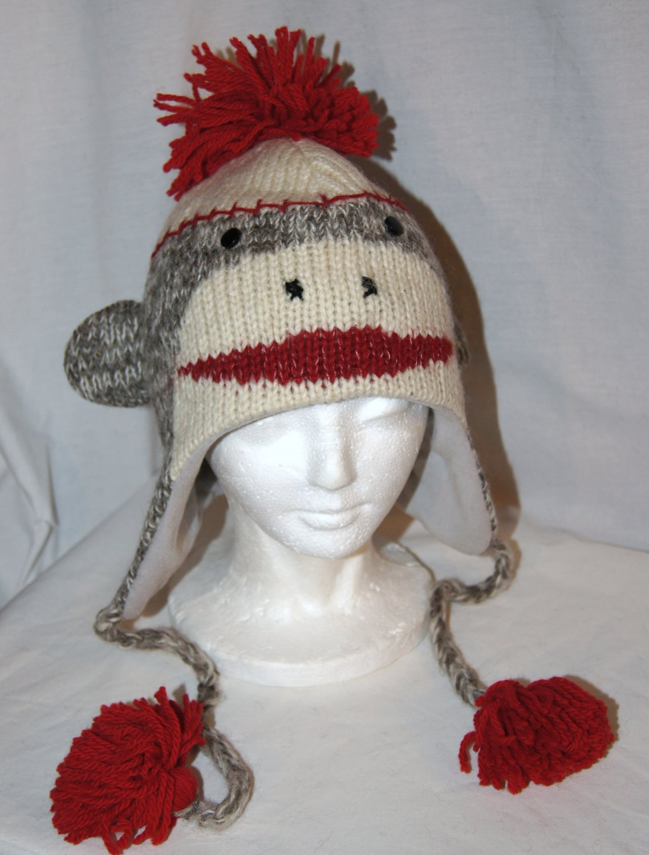 Cute SOCK MONKEY HAT Classic Adult Light Gray Soft Lined Fleece Knit ski Cap grey delux knitwits