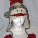 Cute SOCK MONKEY HAT Classic Adult Light Gray Soft Lined Fleece Knit ski Cap grey delux knitwits
