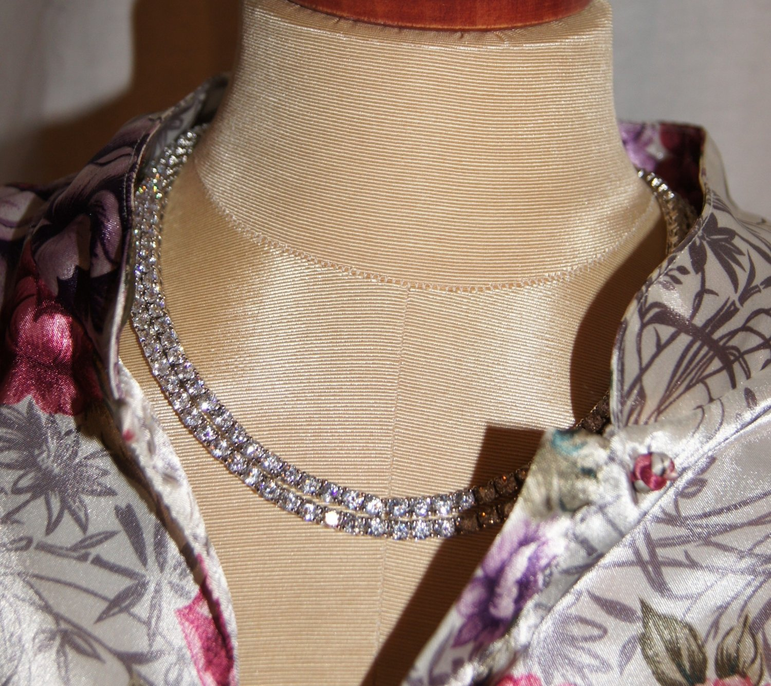 "Double EXTRA LONG Rhinestone necklace seen in country strong 35"" rhodium"