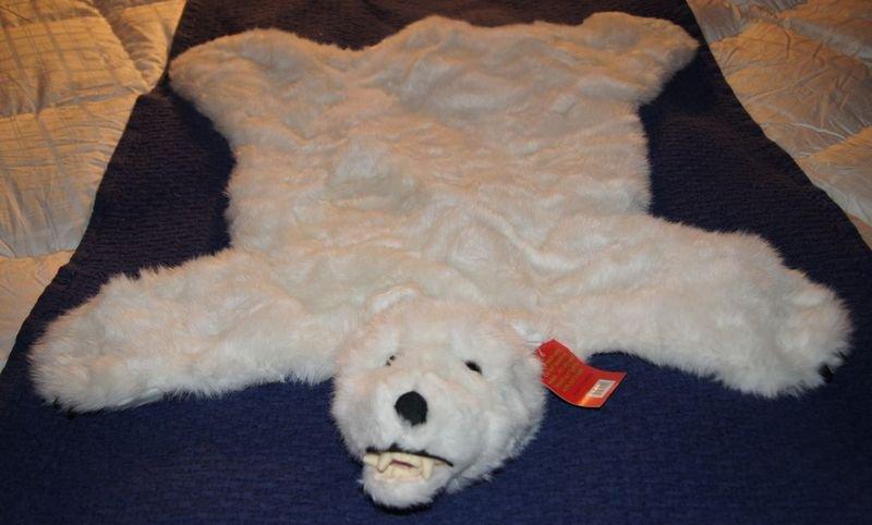 """POLAR BEAR RUG 35"""" x 28"""" SMALL bearskin nursery gift photography cabin animal mat"""
