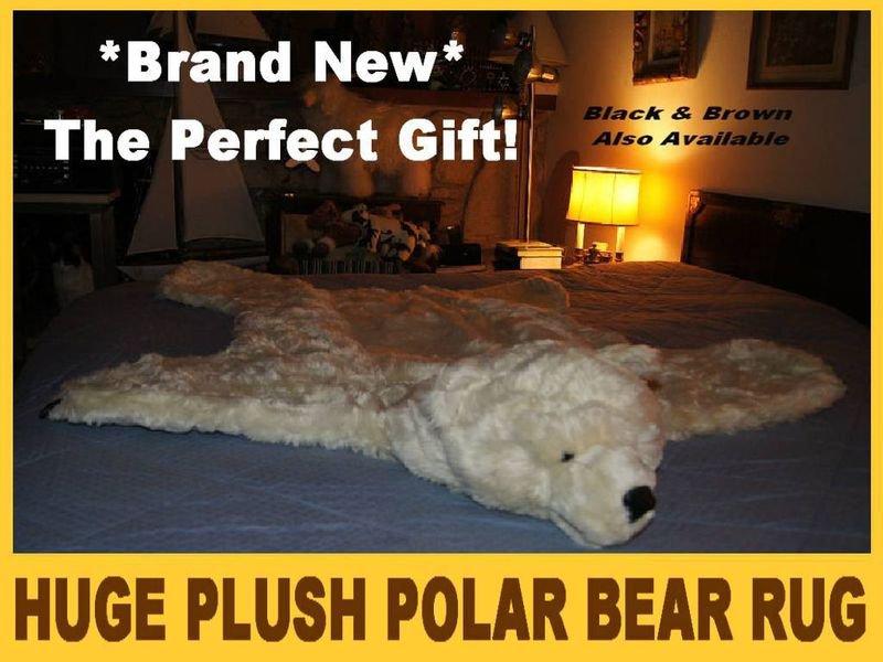 """POLAR BEAR RUG PLUSH white BIG 52"""" LARGE photography prop KING bearskin faux suede bottom"""