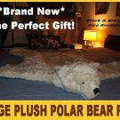 "POLAR BEAR RUG PLUSH white BIG 52"" LARGE photography prop KING bearskin faux suede bottom"