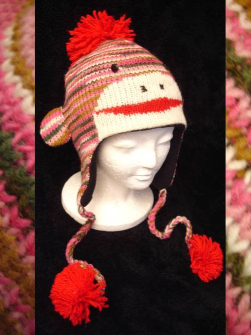 PINK SOCK MONKEY Hat KNIT ski cap STRIPED Fleece Lined ADULT mens womens Halloween Costume delux