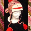 PINK SOCK MONKEY Hat KNIT ski cap STRIPED Fleece Lined ADULT mens womens Halloween Costume delux