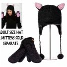Pink Ears KITTY CAT HAT costume black poms animal ski cap ADULT