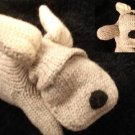 GRAY DOG MITTENS FOR MEN WOMEN puppet FLEECE LINED knit Vintage delux animal