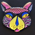 Dichroic Glass CAT PIN Essential Glass Works USA Sterling silver artist stamp PINK BLUE MYSTIC
