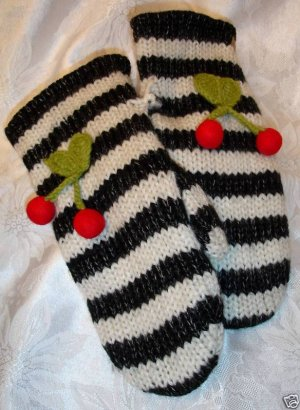 ADULT CHERRY MITTENS Fleece Lined KNIT puppet felted cherries Ladies Womens COZY warm