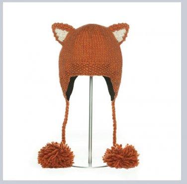 deLux RED FOX Hat knit ski cap  mens womens Halloween costume Fleece Lined mens women's delux