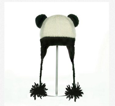 PANDA Hat knit ski cap mens womens Halloween costume Fleece Lined mens womens black animal delux