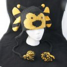 BUMBLE BEE Hat knit ski cap mens womens Halloween costume Lined bumblebee insect delux
