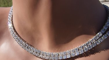 "double Long Large Rhinestone necklace as seen in country strong 32"" rhodium sterling silver"