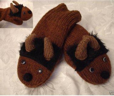 ADULT BUFFALO MITTENS Fleece Lined KNIT puppet MENS WOMENS COZY bison bills brown