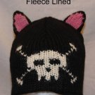 BLACK CAT HAT knit ski cap ADULT ears Soft FLEECE LINED Halloween Costume
