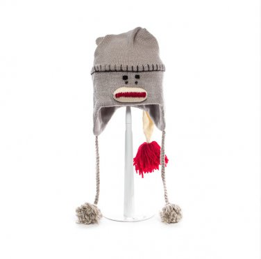 LONG SLEEPING CAP SOCK MONKEY HAT  Adult Night cap gray Soft Lined Fleece Knit ski Cap grey